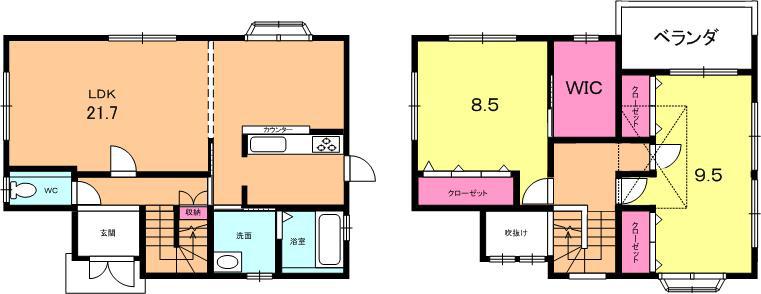 下阪本3丁目 中古一戸建て間取図