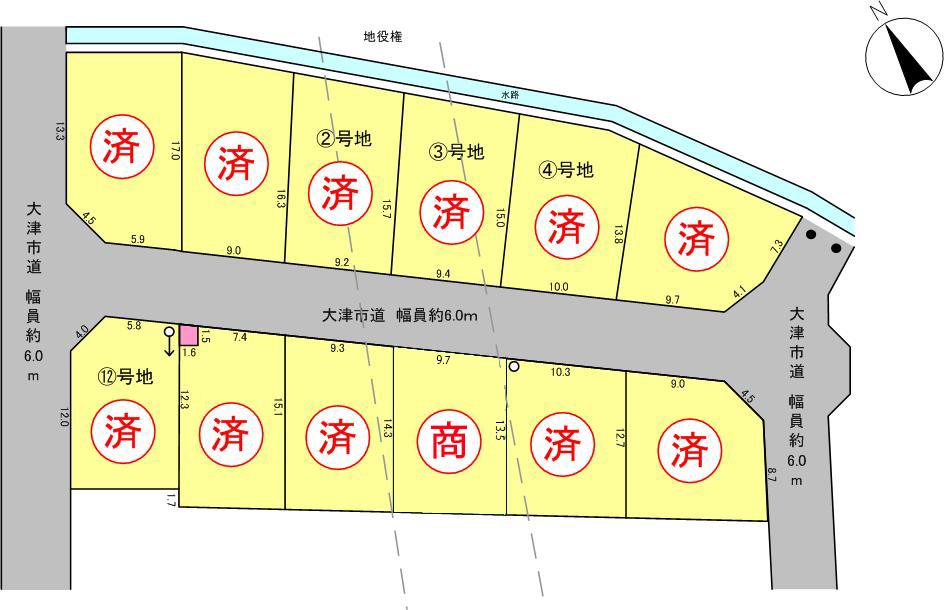 ウエストレイク下阪本3丁目 全12区画 区画図