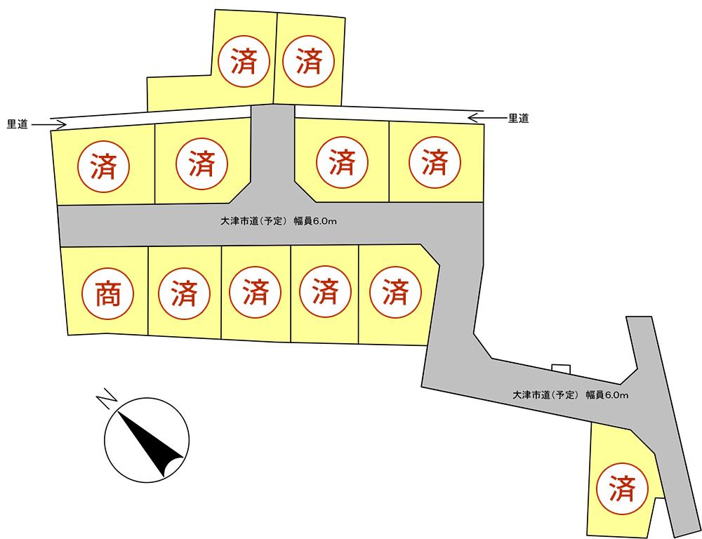 ウエストレイク下阪本4丁目 全12区画 区画図