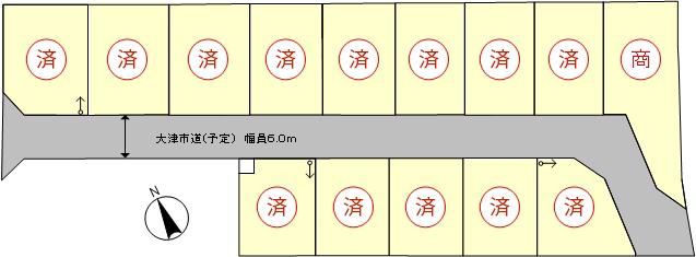 ウエストレイク下阪本5丁目 全14区画 区画図