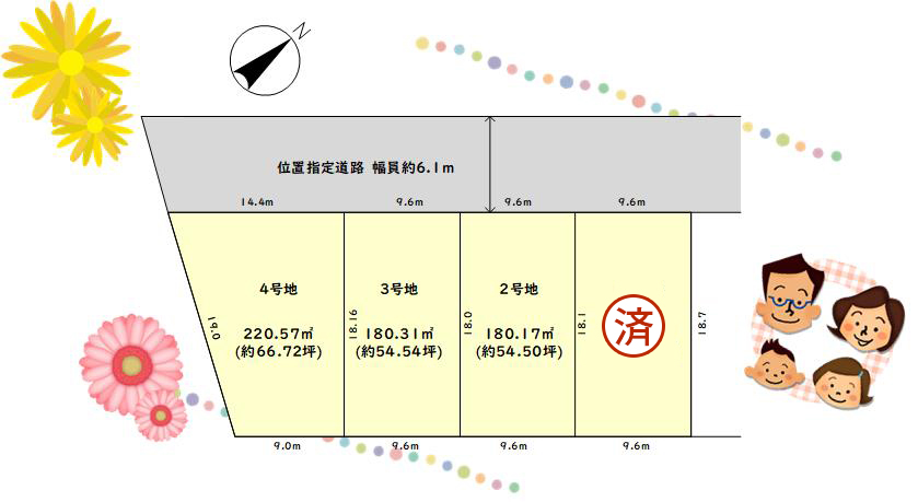 ウエストレイク下阪本1丁目 全4区画 区画図
